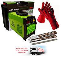 Сварочный инвертор Белорус ИСА 380И + перчатки сварщика (огне упорные) +2,5 кг электродов 3мм+чемодан