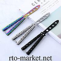 Нож бабочка тренировочный(тупой)(silver-black- gradient) Benchmade