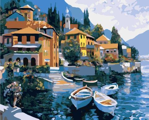 Картина по номерам 40х50см. gx6849 Лодки у набережной Rainbow