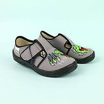 Детские текстильные туфли тапочки для мальчика, Гриша серый T-Rex тм Waldi размер 24,25,26,27,28,29,30, фото 2
