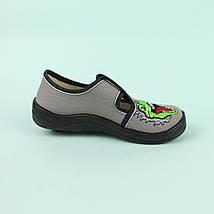 Детские текстильные туфли тапочки для мальчика, Гриша серый T-Rex тм Waldi размер 24,25,26,27,28,29,30, фото 3