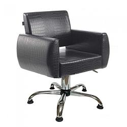 Стильное парикмахерское кресло квадратной формы с мягкими подлокотниками Бронкс (Bronx) Кресла для клиентов Хром пятилучье, Гидравлика