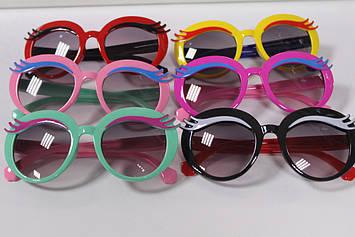 Дитячі сонцезахисні окуляри круглі з віями 1 шт