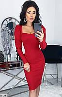 Платье женское весна-лето по фигуре стрейч-джинс 42-48 р.,цвет красный
