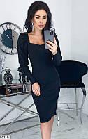 Платье женское весна-лето по фигуре стрейч-джинс 42-48 р.,цвет черный