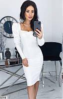 Платье женское весна-лето по фигуре стрейч-джинс 42-48 р.,цвет белый