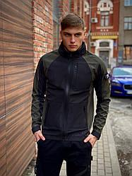 Мужская куртка хаки-черная Intruder SoftShell Lite 'iForce' размер S 46 M 48 L 50 XL 52 XXL 54