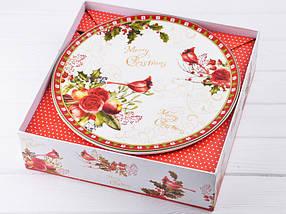 Тортовница с лопаткой Lefard Новогодняя коллекция 25 см 924-138 блюдо для торта, фото 2