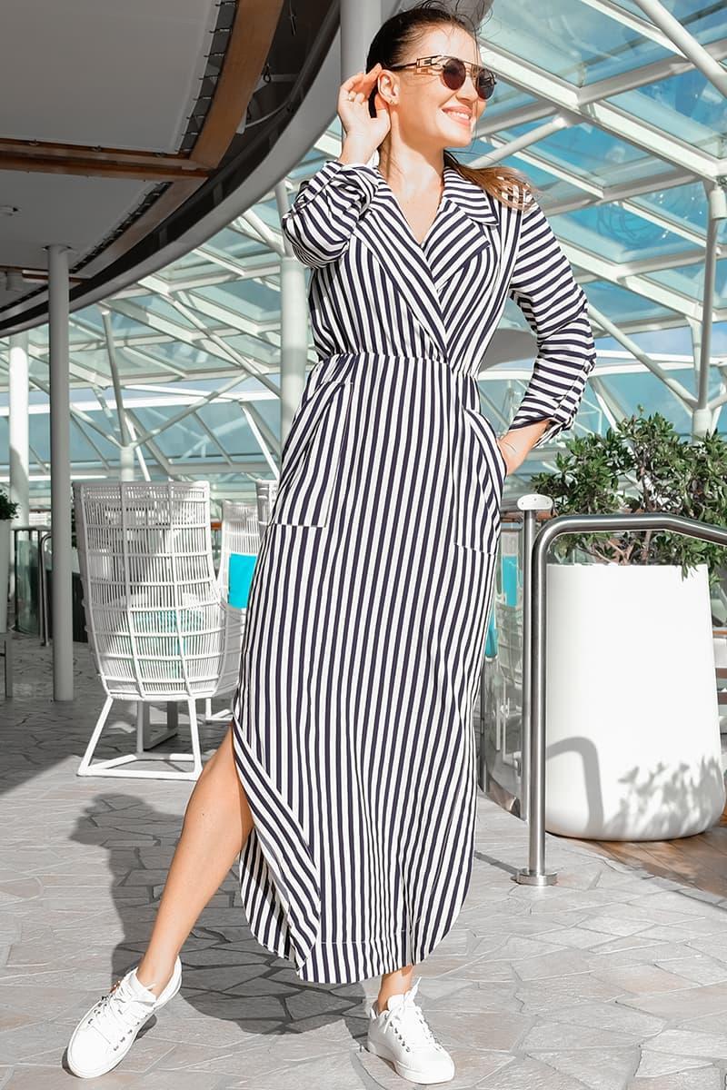 Довге плаття в синьо - білу смужку Шимер