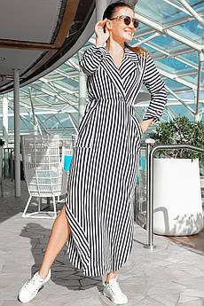 Длинное платье в сине - белую полоску Шимер