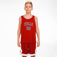 Форма баскетбольная подростковая NB-Sport NBA BULLS 23, PL, р-р M-2XL-130-165см, красный (5351)