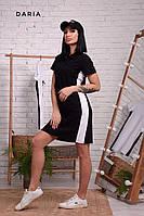 Прямое спортивное платье поло с рубашечным воротником и лампасами 55PL981, фото 1