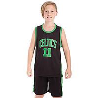 Форма баскетбольная подростковая NB-Sport NBA CELTICS 11, PL, р-р M-2XL-130-165см, черный (BA-0967)