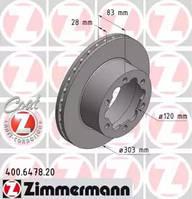 ZIMMERMANN 400647820 Диск гальмівний для MERCEDES-BENZ SPRINTER 5-t c бортовой платформой/ходовая часть (906), MERCEDES-BENZ SPRINTER 5-t Фургон