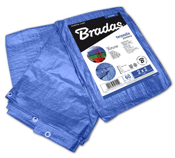 Тент водонепроницаемый, BLUE, 60 гр/м², размер 2 х 4м, PL2/4 BRADAS