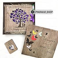 Деревянный набор - фотоальбом, открытка, коробка, клей-карандаш