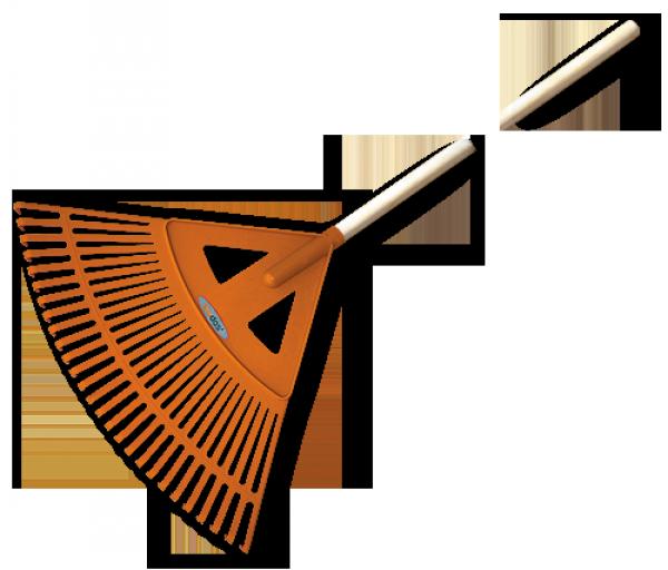 Грабли веерные - 27 зубцов, черенок деревянный, KT-CX27W BRADAS