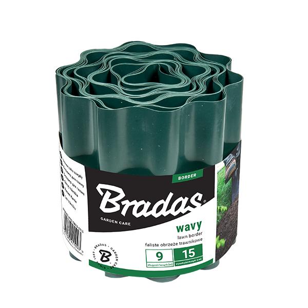 Бордюр волнистый, 9м*15см, зеленый, OBFG 0915 BRADAS