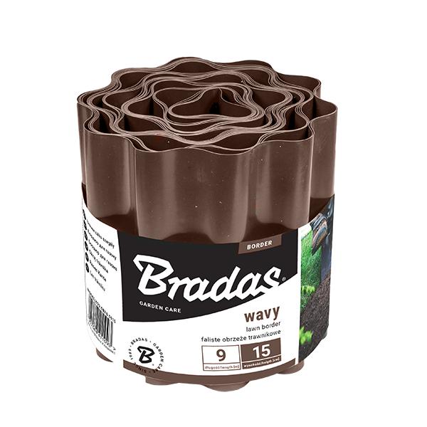Бордюр волнистый, 9м*15см, коричневый, OBFB 0915 BRADAS