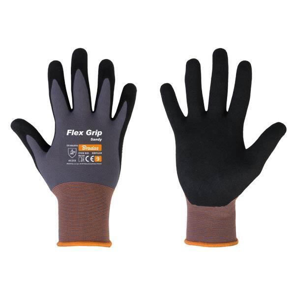 Перчатки защитные нитриловые, FLEX GRIP SANDY, размер 7, RWFGS7 BRADAS