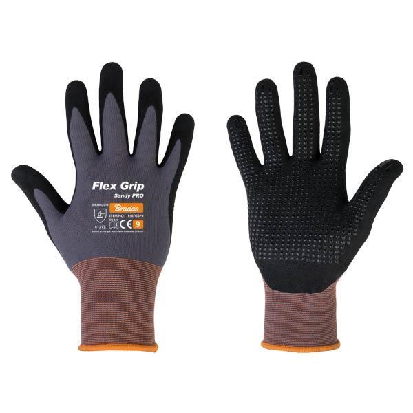 Перчатки защитные нитриловые, FLEX GRIP SANDY PRO, размер 7, RWFGSP7 BRADAS