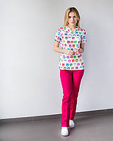 Медицинский женский костюм Топаз принт  Cats colored, фото 1