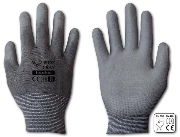 Перчатки защитные PURE GRAY полиуретан, размер 10, блистер, RWPGY10 BRADAS