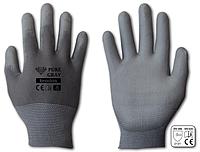 Перчатки защитные PURE GRAY полиуретан, размер 9, блистер, RWPGY9 BRADAS