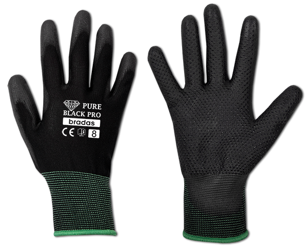 Перчатки защитные PURE BLACK PRO полиуретан, размер 9, RWPBCP9 BRADAS