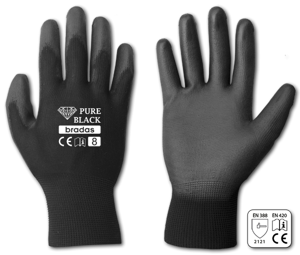 Перчатки защитные PURE BLACK полиуретан, размер 11, RWPBC11 BRADAS
