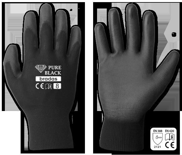 Перчатки защитные PURE BLACK полиуретан, размер 8, RWPBC8 BRADAS