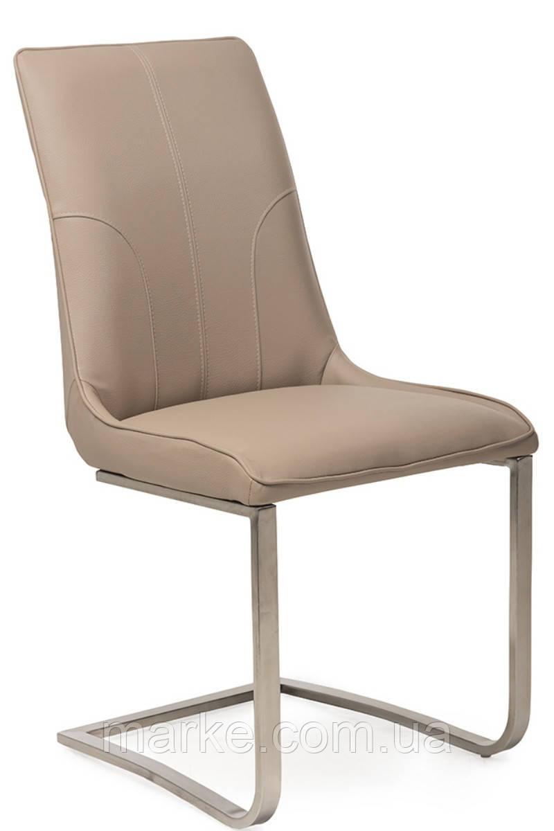 """Сучасний стілець """"S-215"""" кожзам + нержавіюча сталь (капучіно)"""