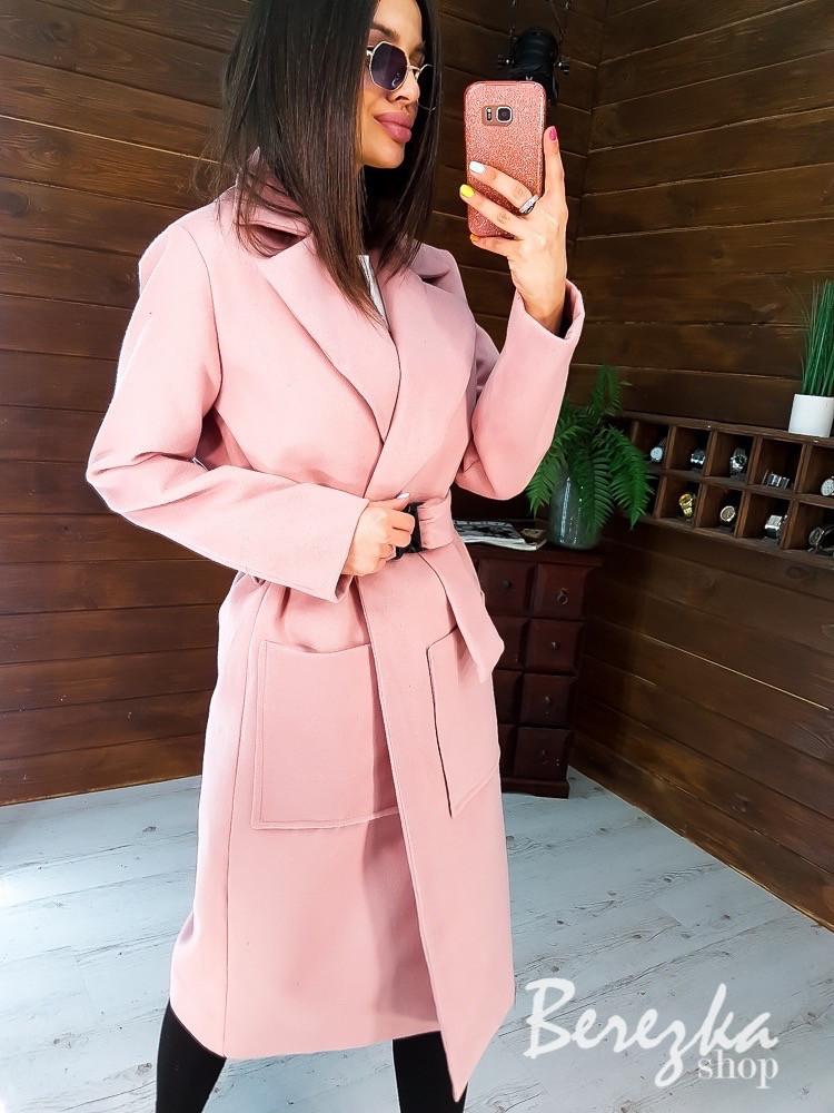 Кашемировое женское Пальто миди с карманами и поясом фастекс 66pt269E