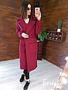 Кашемировое женское Пальто миди с карманами и поясом фастекс 66pt269E, фото 2