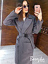 Кашемировое женское Пальто миди с карманами и поясом фастекс 66pt269E, фото 3