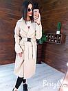 Кашемировое женское Пальто миди с карманами и поясом фастекс 66pt269E, фото 6