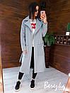 Кашемировое женское Пальто миди с карманами и поясом фастекс 66pt269E, фото 7