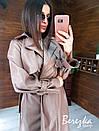 Кожаный женский тренч на запах с отложным воротником и ремешками на рукавах 66pt272Q, фото 2