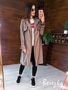 Кожаный женский тренч на запах с отложным воротником и ремешками на рукавах 66pt272Q, фото 3
