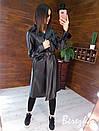 Кожаный женский тренч на запах с отложным воротником и ремешками на рукавах 66pt272Q, фото 5