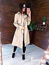 Кожаный женский тренч на запах с отложным воротником и ремешками на рукавах 66pt272Q, фото 7