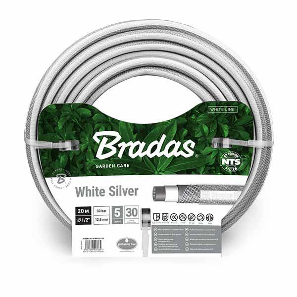 Шланг для полива NTS WHITE SILVER 1/2 - 20м, WWS1/220 BRADAS