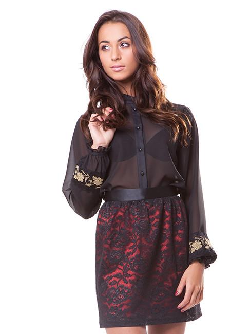 Полупрозрачная женская блуза с вышивкой (размеры S-2XL)