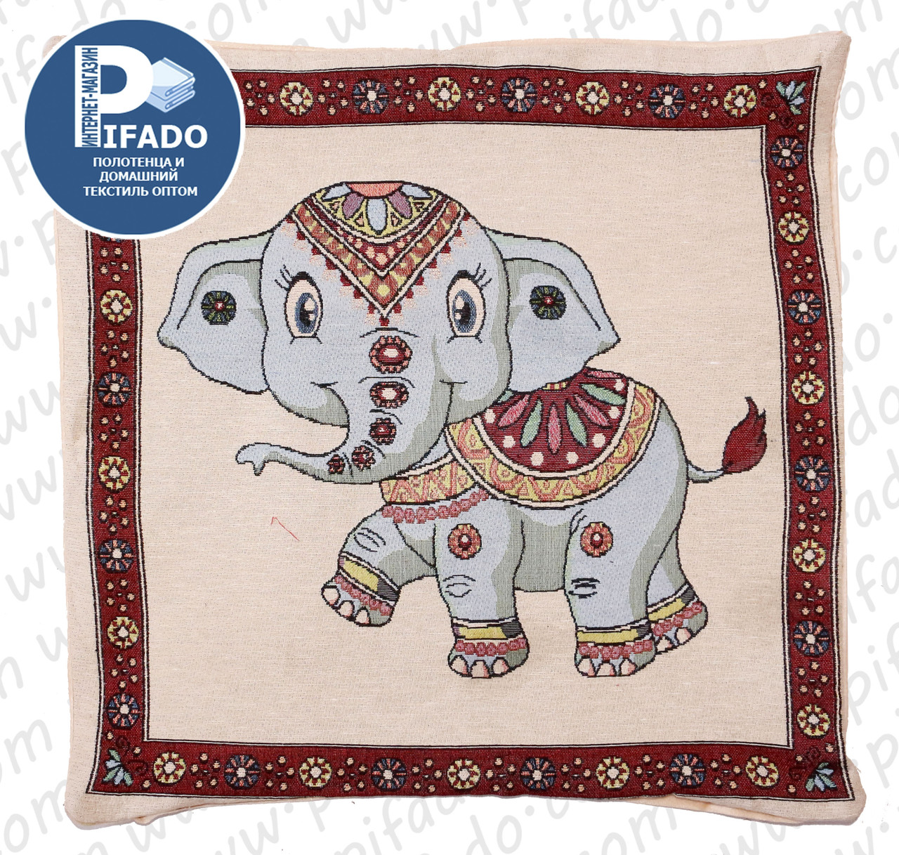 Декоративная наволочка с вышивкой слон (гобелен) 50х50. Модель HD01-15