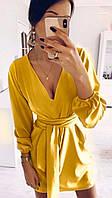 Платье мини лёгкое с поясом в комплекте  ткань софт