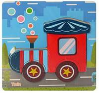 Пазл Деревянные Пазлы Объемные Рамка Вкладыш Животные Транспорт дерев'яні пазли, MD 2315, 012281 Поезд