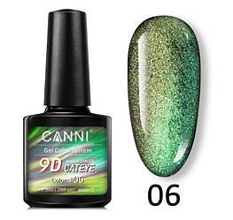 Гель-лак кошачий глаз 9D Canni № 06 темно-зелено-салатовый 7.3 мл