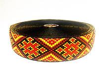 Тесьма с украинской вышивкой, 30 мм. в мотке 25 м. арт. 151-30 желто-красная