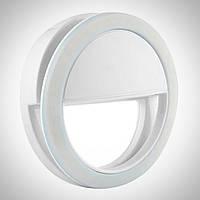 Светодиодное кольцо-подсветка для селфи на телефон на аккумуляторе (белый)