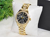 Женские часы Ролекс (Rolex) стразы золотые с черным циферблатом, фото 1